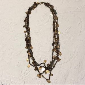 Layered bronze disc necklace